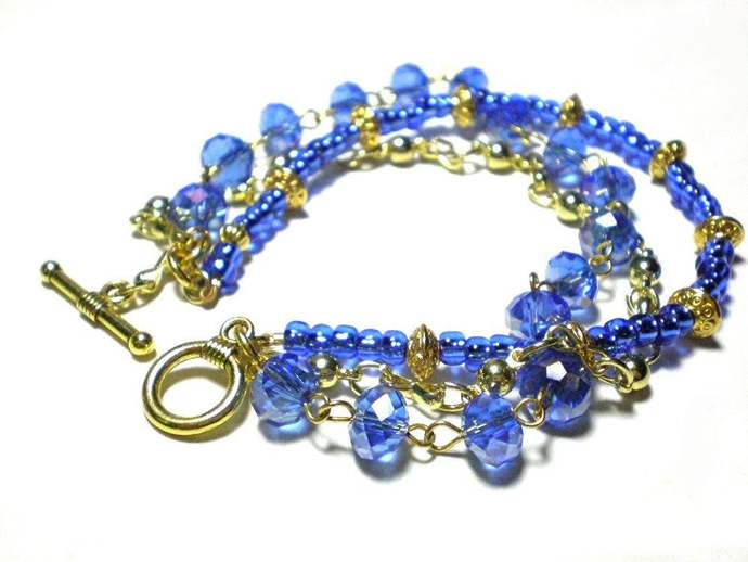 Blue 3 strand bracelet, 8 inch gold & blue crystal chain seed bead jewelry,