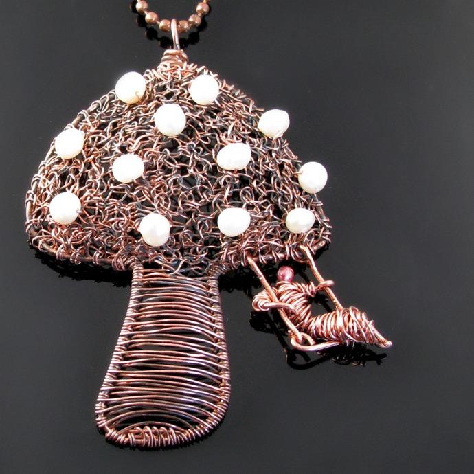 Magic mushroom - wire crochet and woven pendant