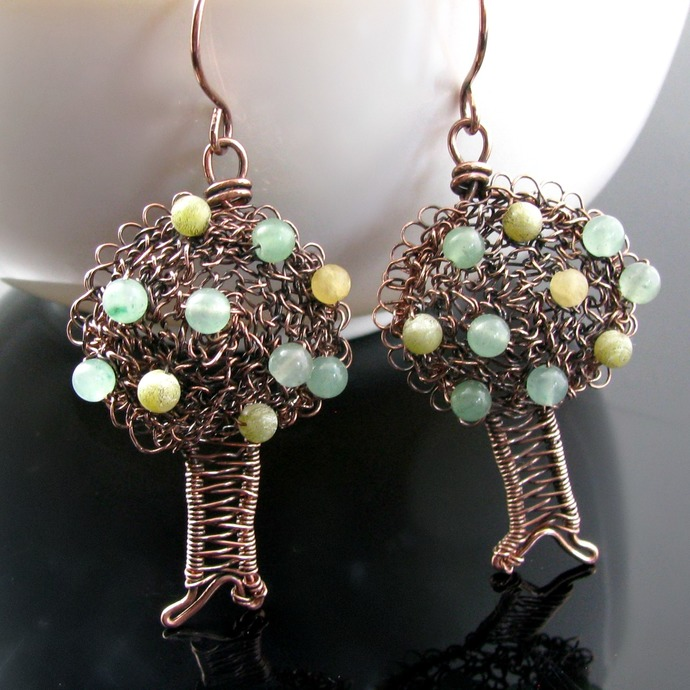 Wire crochet and woven apple tree earrings