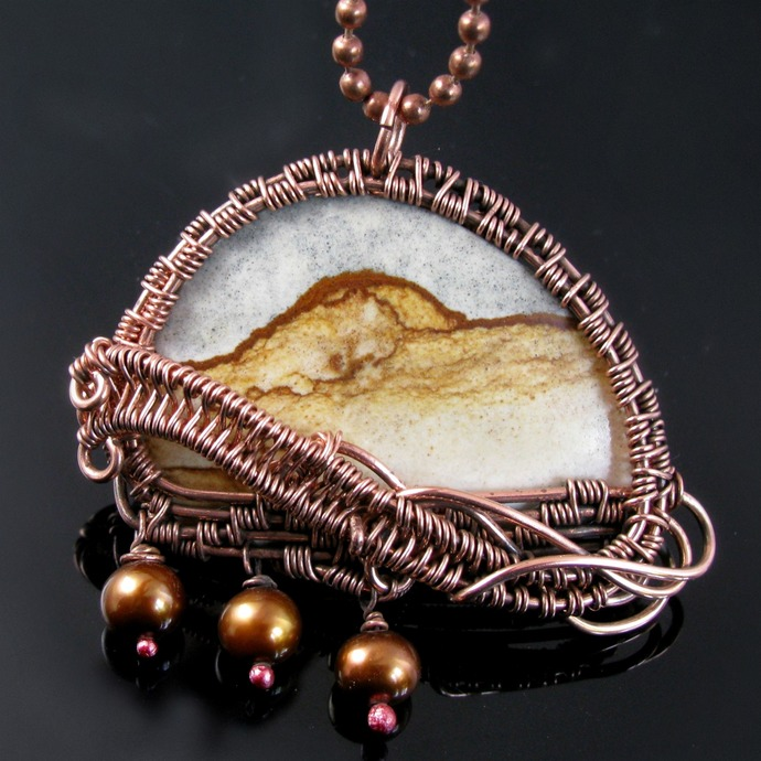 Wire woven pendant with picture jasper and pearls