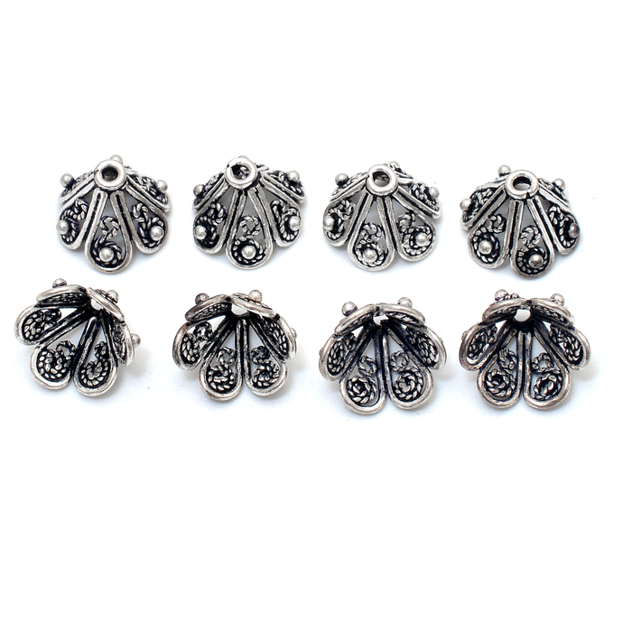 925 Sterling Silver 11x9 mm Round Flower Carved Beads Tassel Caps Finding
