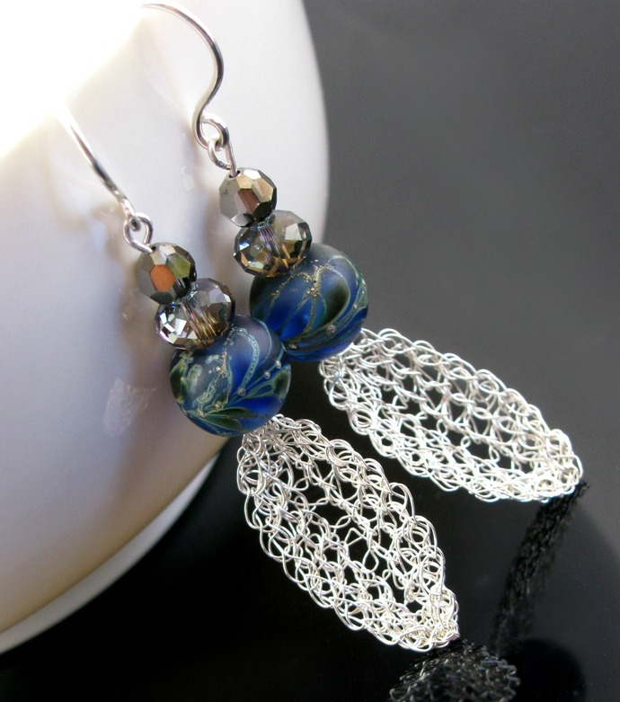 Silver wire crochet feather earrings with lampwork and crystals