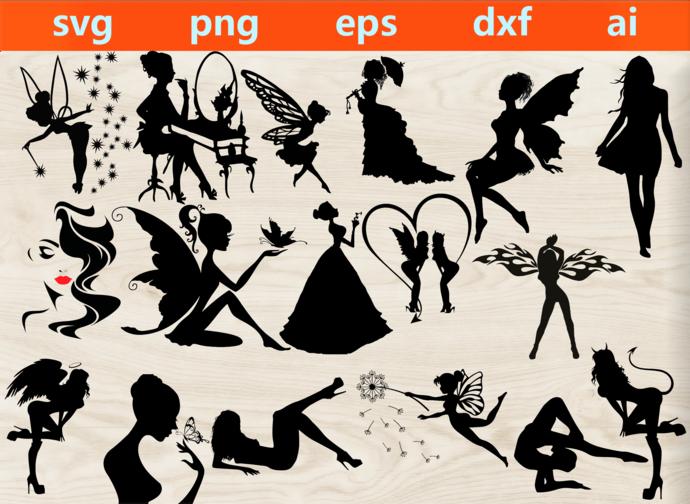 Fairy svg, sorceress svg, fairy silhouette, sorceress silhouette, fairy print,