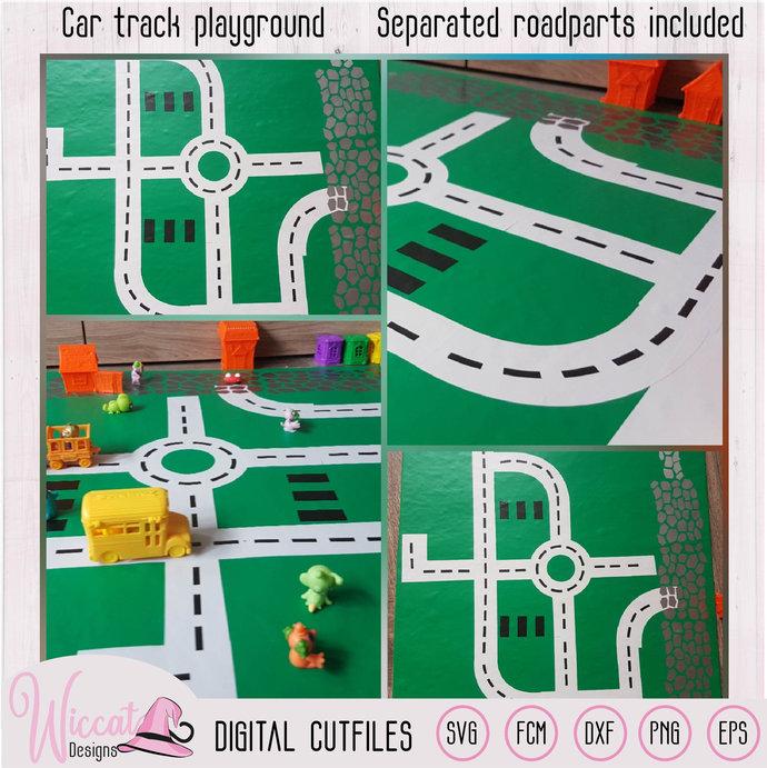 Car track, Road map, Car playground, boys design, road parts, vinyl craft,  race