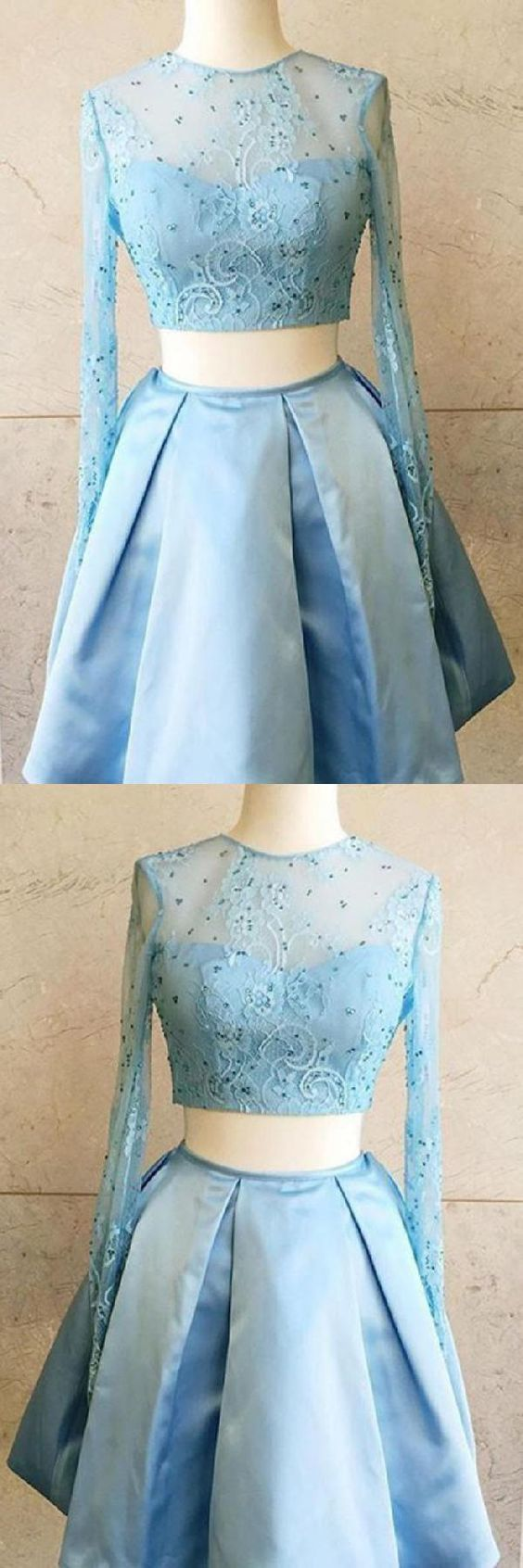 Long Sleeve Blue Two Piece Prom Dress, Beaded Lace Short Homecoming Dress