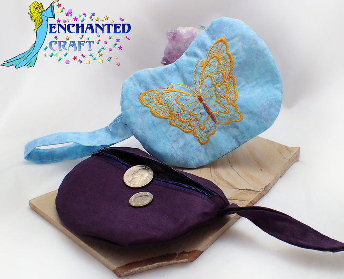 Embroidered Butterfly Coin Purse, wallet, wristlet, mini purse, bag handmade