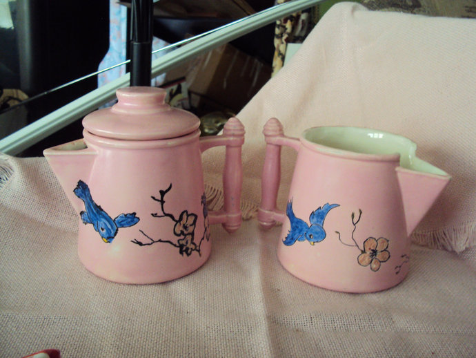 Vintage 1969 Handmade Pink Bluebird Creamer Milk  Set