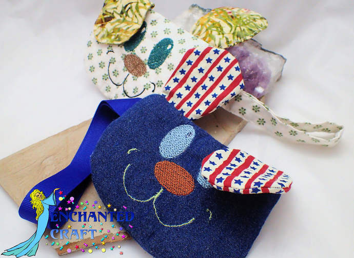 Embroidered Puppy Coin Purse, wallet, wristlet, mini purse, bag, dog handmade