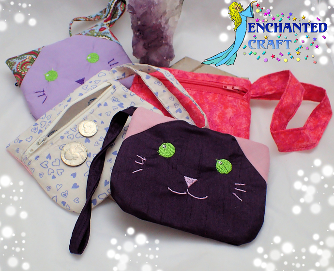 Embroidered kawaii Kitty Coin Purse, wallet, wristlet, mini purse, bag, kitten