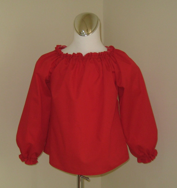 Red Long Sleeve Peasant Top 12M To 7, Girl Long Sleeve Top, Red Peasant top,