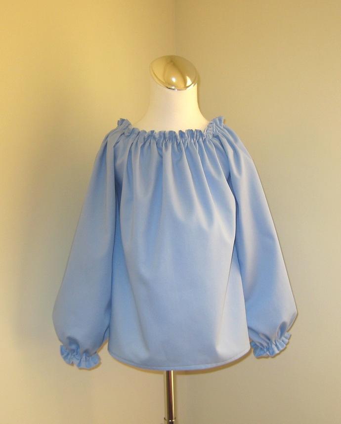 Light Blue Long Sleeve Top, Girl Blue Top, Long Sleeve Blue Blouse, Toddler Blue