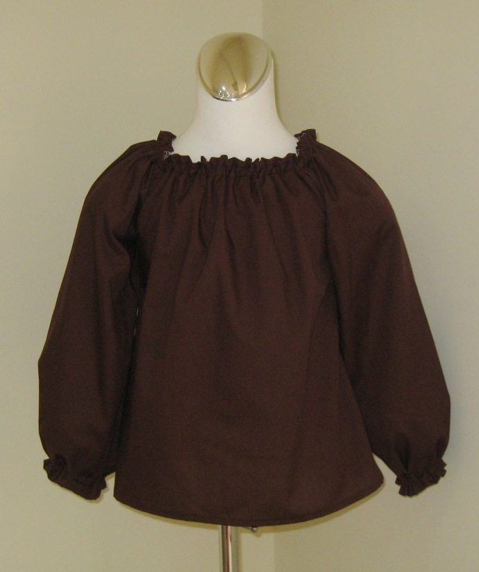 Brown Long Sleeve Peasant Top 12M To 7, Brown Top, Girl Top, Infant Top, Blouse,