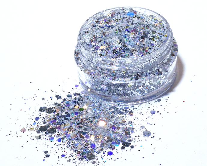 Silver Bells - Loose Silver Iridescent and Metallic Chunky Glitter Mix
