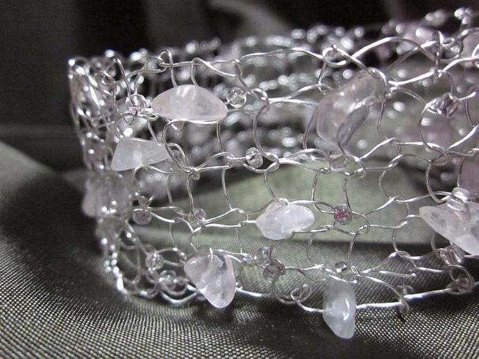 Handmade Sterling Silver Wire Knit Bracelet with Rose Quartz