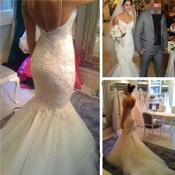 Sexy Mermaid Wedding Dress, Backles Button Spaghetti Straps White Lace Appliques