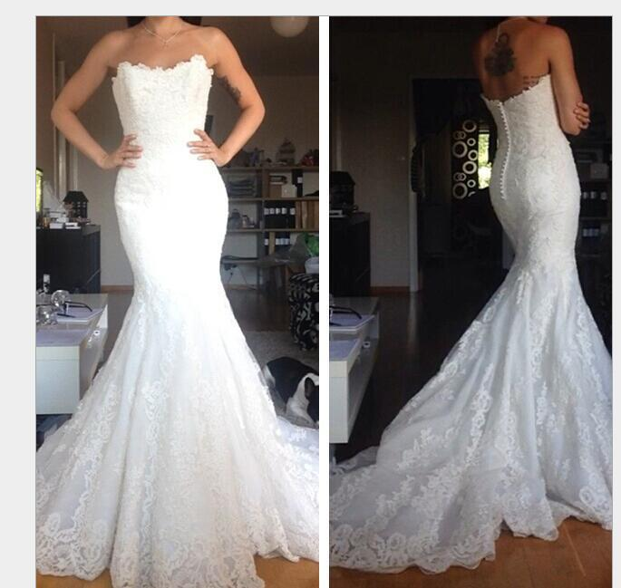 White Strapless Lace Appliques Mermaid Wedding Dress, Sexy Bridal Gowns