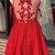 Elegant V neck Red Appliques Short Homecoming Dress