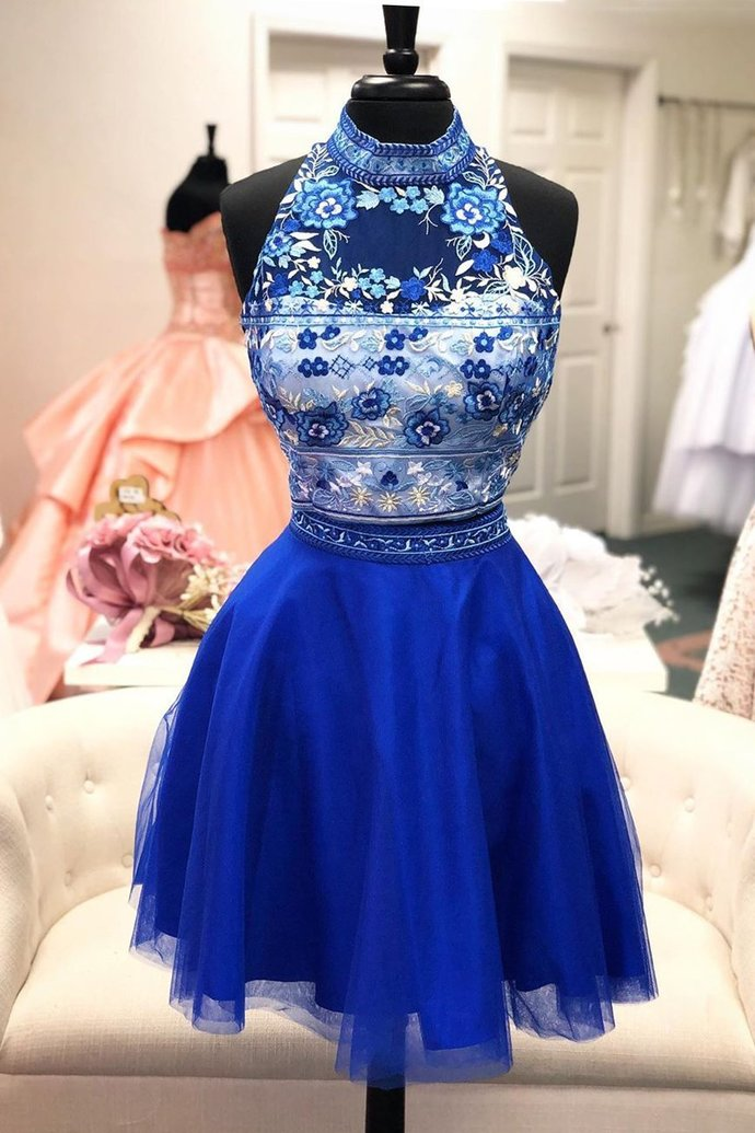 Halter Royal Blue Tulle Two Piece Floral Short Homecoming Dress