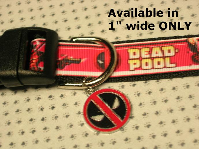 """Deadpool, Super hero, Movie, 1"""" wide adjustable Dog Collar, Deadpool symbol"""