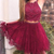 Lace Red Two Piece Prom Dress, Beaded Short Homecoming Dress