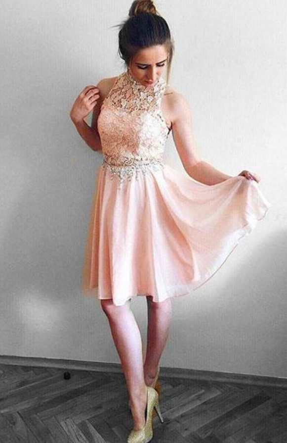 Pink Lace Two Piece Prom Dress, Elegant Pink Short Homecoming Dress