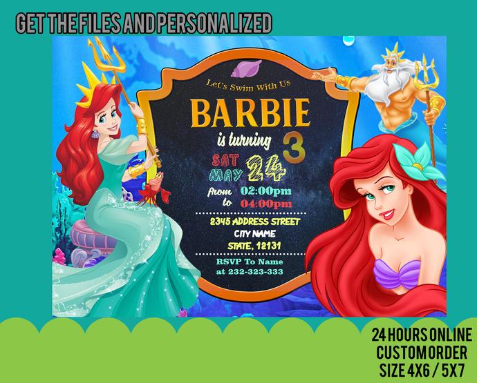 Little Mermaid Invitation, Little Mermaid Birthday Party, Princess Ariel,