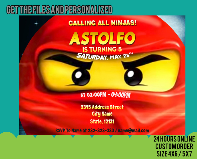 Ninjago Invitation, Ninjago Invitations, Ninjago Birthday, Ninjago Party,
