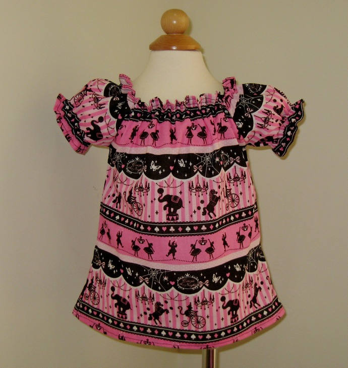 Carnival Top, Hot Pink and Black Girl Top, Girl Blouse, Circus Top, Peasant Top,
