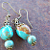 Turquoise Nuggets and Antiqued Brass Earrings