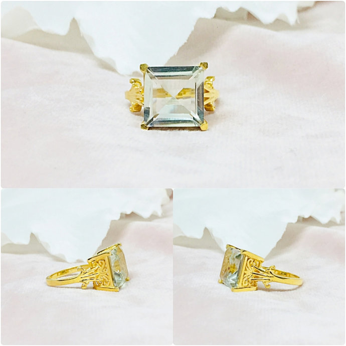 Green Amethyst Vermeil 14K Gold Over Sterling Silver Ring