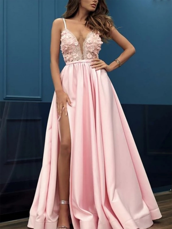 A-Line V-Neck Side Slit Pink Beaded Long Prom Dresses