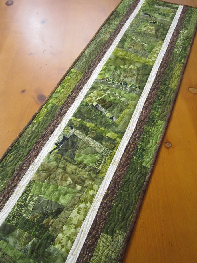Table Runner Quilted Green Home Decor