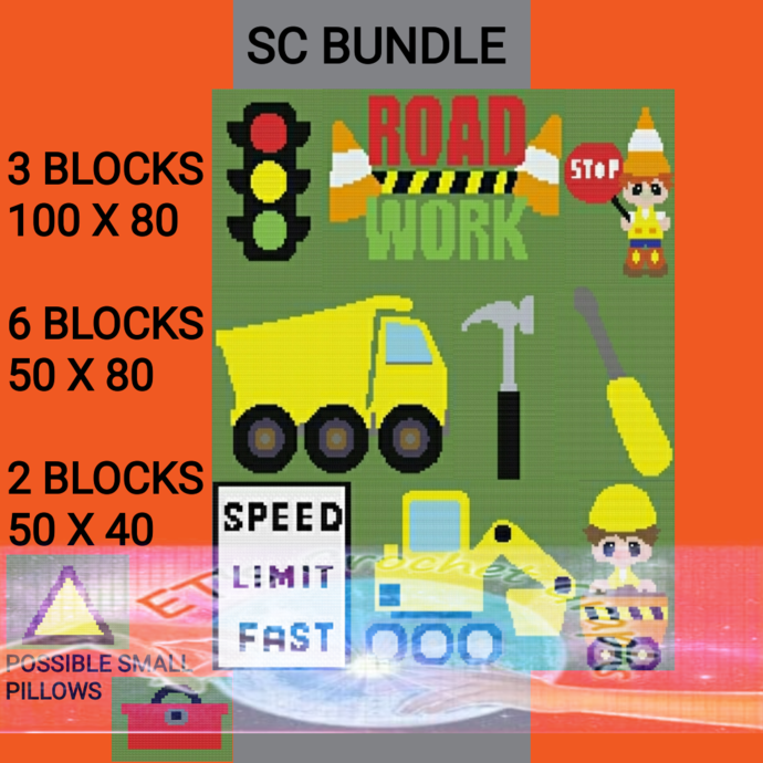 LiL Dude Constrution Bundle 11 Patterns - includes Graph with Written Color