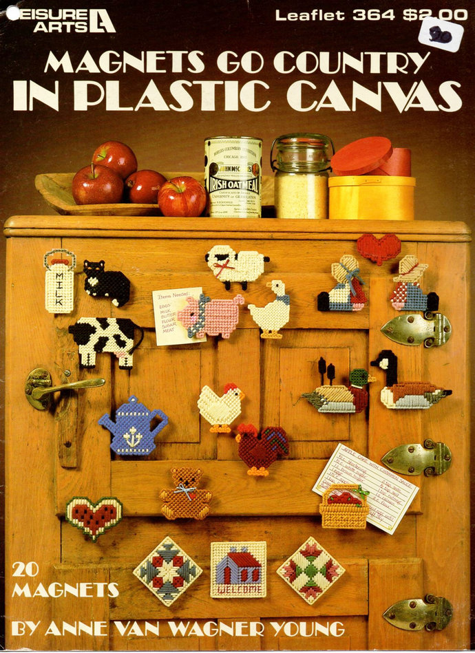 20 Country Magnets Plastic Canvas Pattern Leisure Arts Leaflet 364 Farm Animals,