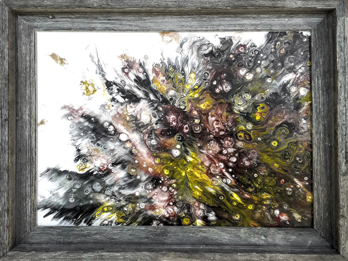 """Acrylic Fluid Painting Original Artwork 12""""x 16"""" on Canvas  Wooden Frame in the"""