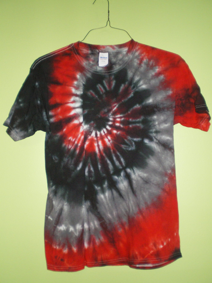 Red, Gray, and Black Tie Dye Youth XL T-Shirt