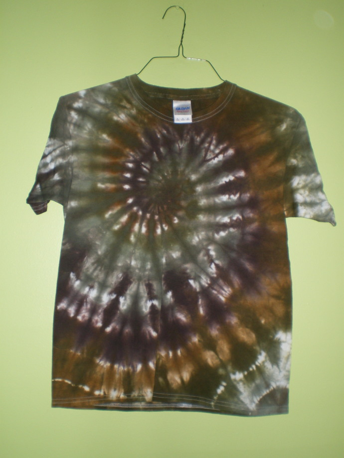 Brown and Black Tie Dye Youth XL T-Shirt