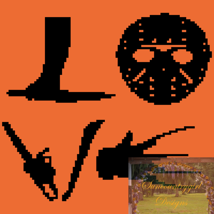 Halloween Love Jason vs Freddy 100 x 100 ***C2C*** graphghan crochet pattern