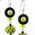 The Bees Knees Earrings - handmade artisan lampwork sterling silver black yellow