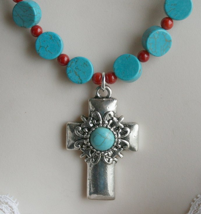 Antique Silver Cross Pendant Necklace, Chalk Turquoise Coin and Red Coral
