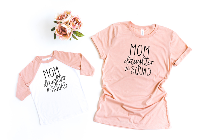 Mommy and Me Matching Shirt Set, Mom Daughter Squad