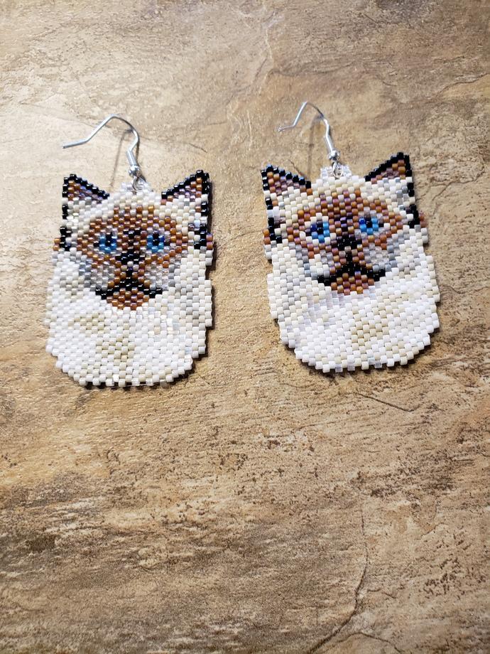 Rag Doll Cat  Earrings  Hand Made Seed Beaded Bead Work