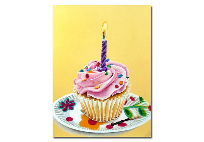CUPCAKE 2 birthday cake frosting colored pencils painting Sandrine Curtiss Art
