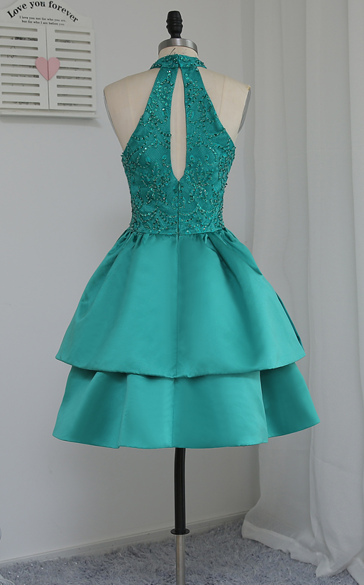 Halter Green Beaded Short Homecoming Dress, Sleeveless Girl Party Dress