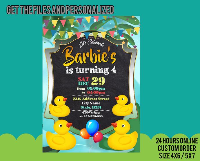 Rubber Duck Birthday Invitation, Rubber Duck Birthday Party, printables, digital