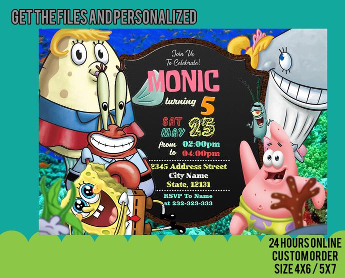 Spongebob Invitation, Spongebob Birthday Party, Spongebob Squarepants