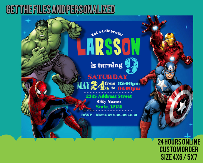 Superhero Invitation / Superhero Avenger Birthday Invitation / Avenger