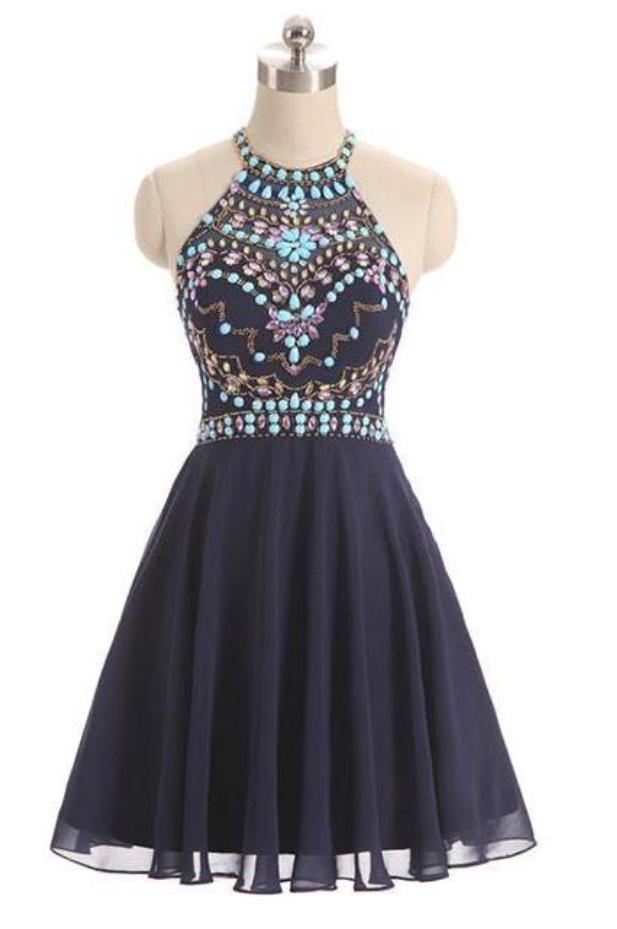 Elegant Beaded Short Homecoming Dress, Halter Party Dress
