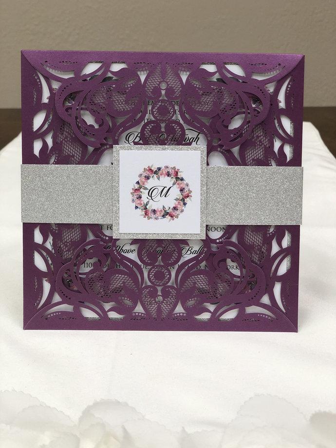 Bat Mitzvah Invitation Delicate Lace Laser Cut Square Invitations Blush Silver