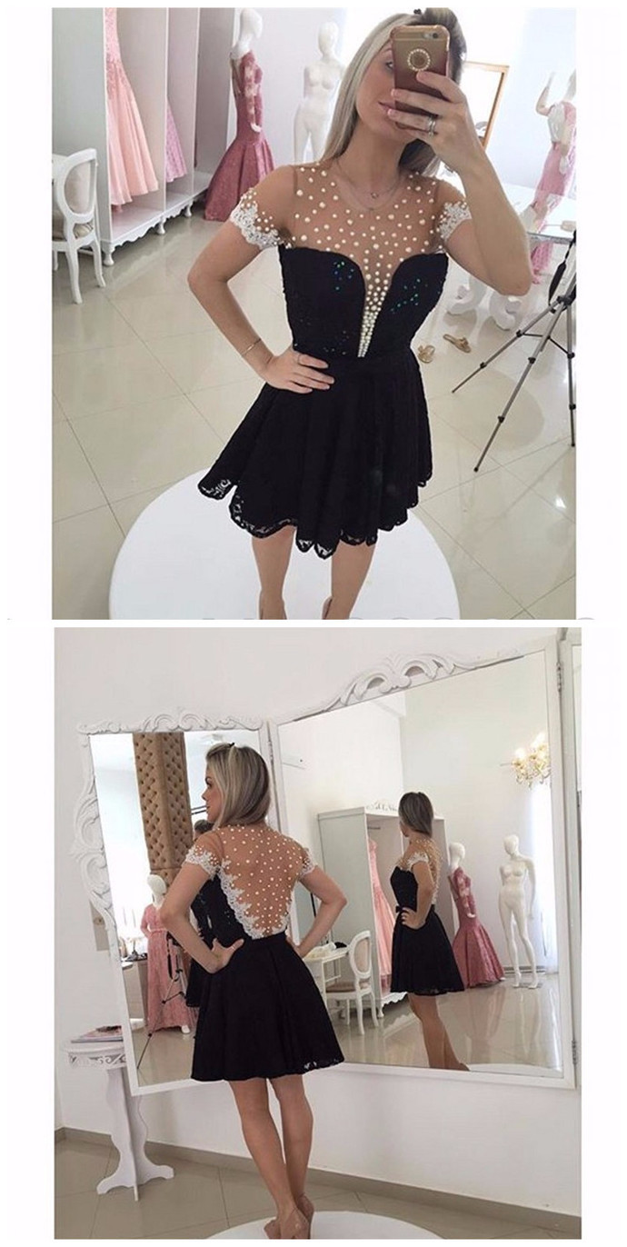 Short Sleeve Homecoming Dress, Black Pearls Short Cocktail Dress, Lace Prom Gown